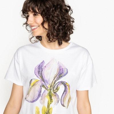 """Camiseta con estampado """"iris"""", cuello redondo y manga corta Camiseta con estampado """"iris"""", cuello redondo y manga corta La Redoute Collections"""
