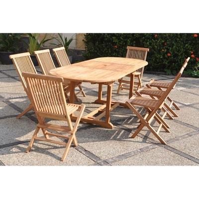 kajang salon de jardin teck massif 8 personnes table ovale 8 chaises kajang - Salon De Jardin Teck