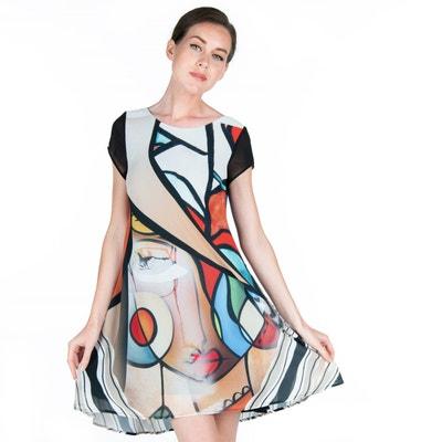 9ca33174381cd Robe longue évasée imprimé style Miro POUSSIERE D ETOLE