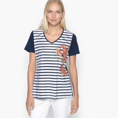 T-shirt con collo a V, fantasia, puro cotone pettinato ANNE WEYBURN