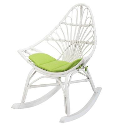 Rocking chair en rotin blanc CALPE - Rotin Design ROTIN DESIGN