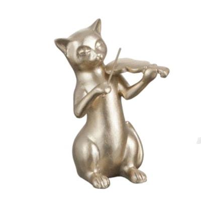 Statuette déco Chat au violon Or 16.5 cm Statuette déco Chat au violon Or 16.5 cm JOLIPA