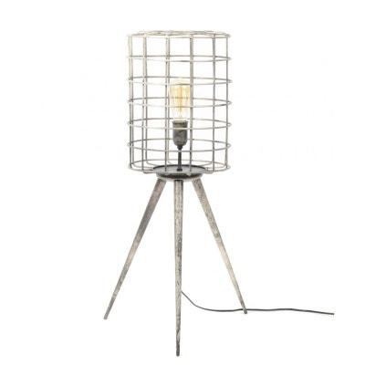 Lampe trépied abat-jour grillage métal argenté 80cm TRIBECA PIER IMPORT