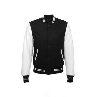 Blouson Teddy en laine noir et les manches en cuir blanc Lyam Blouson Teddy en laine noir et les manches en cuir blanc Lyam DKS