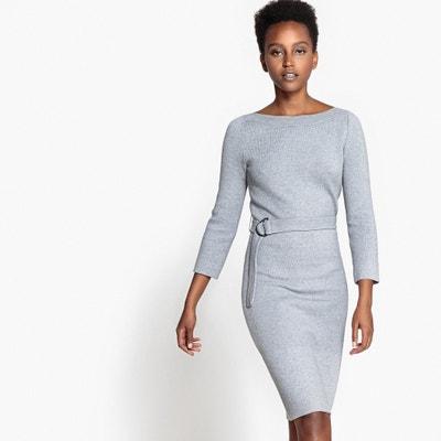 Vestido em malha tricot, com cinto, viscose Vestido em malha tricot, com cinto, viscose La Redoute Collections