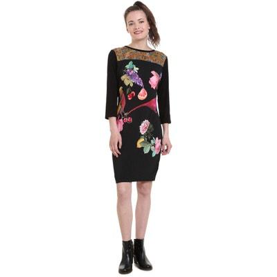 Jersey-Kleid, lange Ärmel, runder Ausschnitt, geblümt Jersey-Kleid, lange Ärmel, runder Ausschnitt, geblümt DESIGUAL