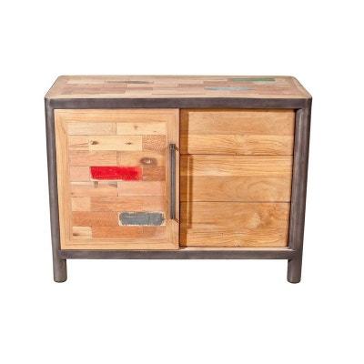 buffet bois recycl 1 porte coulissante 3 tiroirs 100x48x75cm caravelle pier import