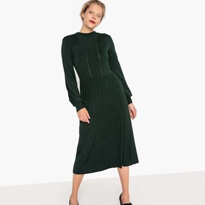 Платье-миди из трикотажа, плиссированная юбка, ажурная вставка Платье-миди из трикотажа, плиссированная юбка, ажурная вставка La Redoute Collections