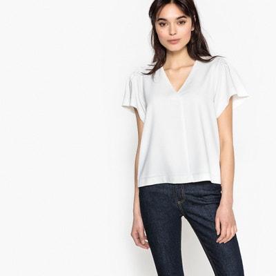 Plain Short-Sleeved V-Neck Blouse SUNCOO