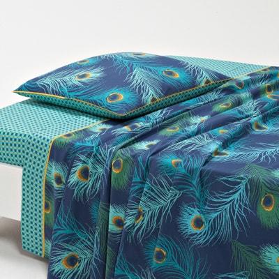 Shakhra Printed Cotton Percale Flat Sheet La Redoute Interieurs