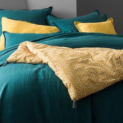 Edredon avec housse 100% coton, imprimé d'un motif représentant des plumes de paon, safran et kaki. Edredon avec housse 100% coton, imprimé d'un motif représentant des plumes de paon, safran et kaki. BLANC CERISE