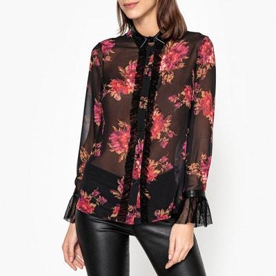 Transparente Bluse mit Blumenprint und langen Ärmeln Transparente Bluse mit Blumenprint und langen Ärmeln LIU JO