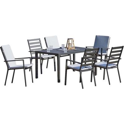 Table Et Fauteuils En Aluminium 6 Personnes Saphir