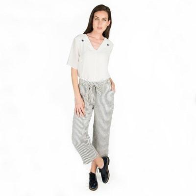 b178c6136943d Pantalon lin rayé ceinture nouée poches dos POUSSIERE D ETOLE