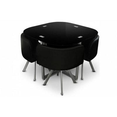 Parfait Table Repas Noire Avec 4 Chaises ERIC DECLIKDECO