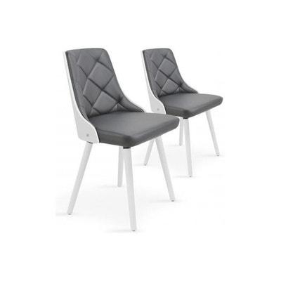 lot de 2 chaises scandinave blanc et gris hadra declikdeco - Chaise Scandinave Bascule
