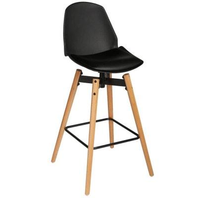 Chaise De Bar Assise En PU Noir Et Pieds Bois Naturel Avec Support 50x50xH104
