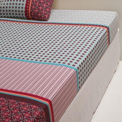 EUZALIE Tile Print Cotton Fitted Sheet EUZALIE Tile Print Cotton Fitted Sheet La Redoute Interieurs