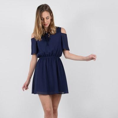 Korte effen rechte jurk met korte mouwen Korte effen rechte jurk met korte mouwen MOLLY BRACKEN