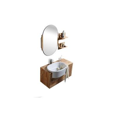 meuble de salle de bain vasque meuble sous vasque tagres et miroir - Meuble Sous Vasque A Poser