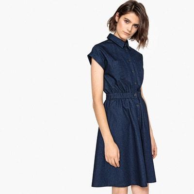 Robe chemise évasée en denim léger, élastiquée La Redoute Collections