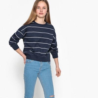 Gestreiftes Sweatshirt, kurze Form, 10-16 Jahre La Redoute Collections