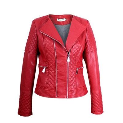 Blouson rouge femme simili cuir
