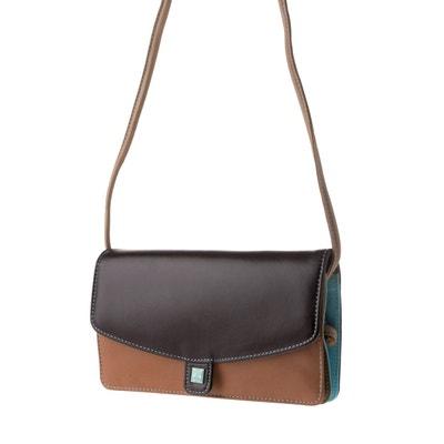 Petit sac à bandoulière pour femme en Cuir Véritable coloré Rectangulaire avec  rabat et fermeture à d28347c8aade