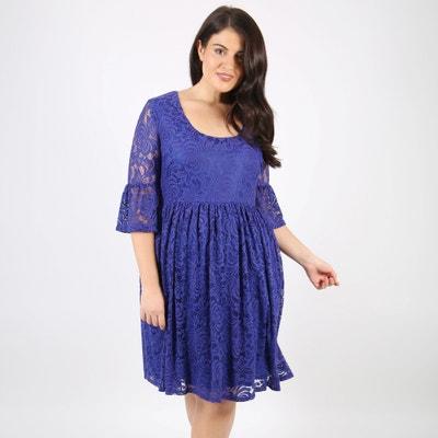 Unifarbenes Kleid mit 3/4-Ärmeln, halblang, gerade Schnittform Unifarbenes Kleid mit 3/4-Ärmeln, halblang, gerade Schnittform LOVEDROBE