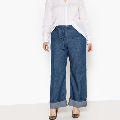 """Tie-Waist Wide-Leg Jeans, Length 28.5"""" Tie-Waist Wide-Leg Jeans, Length 28.5"""" CASTALUNA PLUS SIZE"""