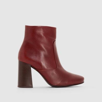 Boots in pelle con tacco svasato La Redoute Collections