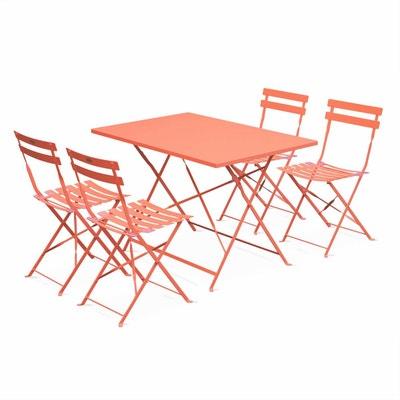 salon de jardin bistrot pliable emilia rectangulaire pche avec quatre chaises pliantes acier thermolaqu salon - Salon De Jardin Pliable