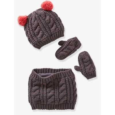 791bde8e80d Vertbaudet Echarpe fille + bonnet + moufles ou gants