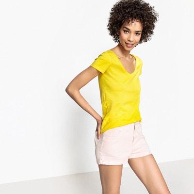 T-shirt met V-hals en korte mouwen, bio katoen T-shirt met V-hals en korte mouwen, bio katoen La Redoute Collections