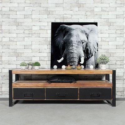 Meuble TV industriel 3 tiroirs en bois de Palissandre  |  RA9A MADE IN MEUBLES
