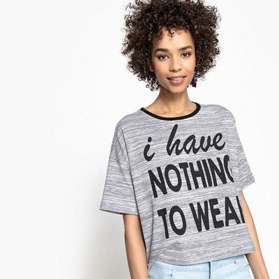 T-shirt à message, col rond contrastant La Redoute Collections