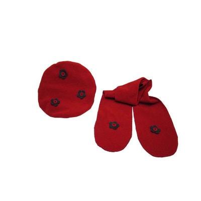 Béret-Echarpe polaire 6-10 ans, rouge fleurs en gris Béret-Echarpe polaire 6-10 ans, rouge fleurs en gris POUSSIN BLEU