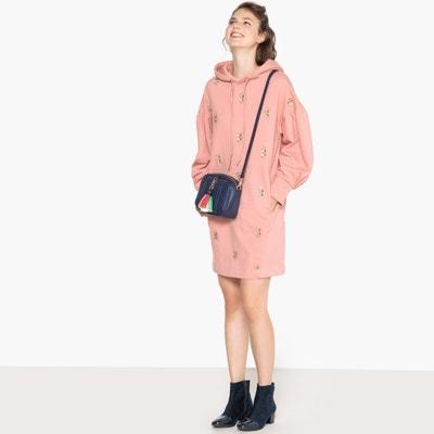 Bluzowata sukienka z kapturem, ozdobny haft Bluzowata sukienka z kapturem, ozdobny haft MADEMOISELLE R