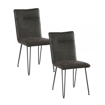 chaise scandinave tissu gris fonc pieds pingle kerala lot de 2 pier import - Chaise Scandinave Cuir