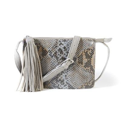 Snakeskin Effect Suede Handbag La Redoute Collections