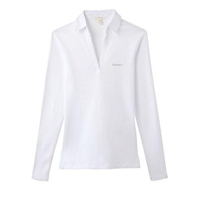 T-shirt col polo, manches longues, pur coton T-shirt col polo, manches longues, pur coton ESPRIT