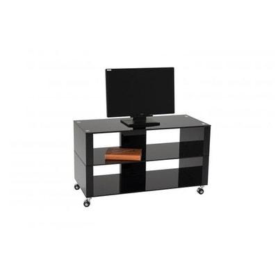 meuble tv roulettes 90x42cm verre noir chelsea meuble tv roulettes 90x42cm verre noir chelsea - Meuble Tv A Roulettes