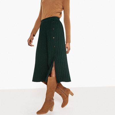 Jupe mi-longue en tricot plissé La Redoute Collections