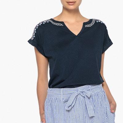 T-shirt perlé, col tunisien ANNE WEYBURN