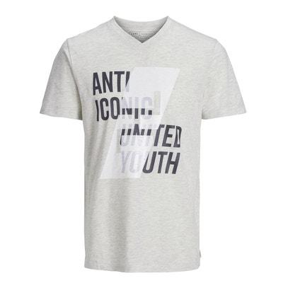e245966cfafa7 Tee shirt col rond manches courtes imprimé devant Tee shirt col rond  manches courtes imprimé devant