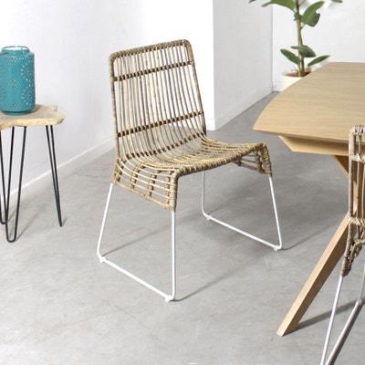 Chaise en rotin pieds en métal blanc  |  VDL - En Soldes MADE IN MEUBLES