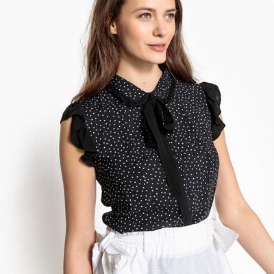 Polka Dot Pussy-Bow Ruffled Shirt MADEMOISELLE R