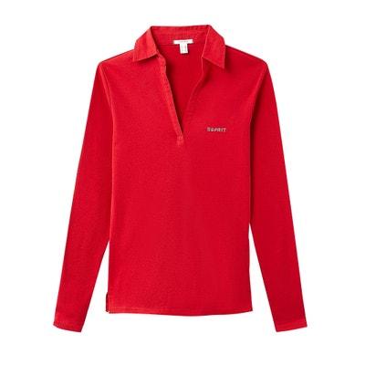 Camiseta con cuello polo, de manga larga, 100% algodón Camiseta con cuello polo, de manga larga, 100% algodón ESPRIT