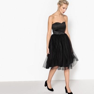 Sukienka z gorsetowym odcięciem, dół z haftem atłaskowym Sukienka z gorsetowym odcięciem, dół z haftem atłaskowym MADEMOISELLE R