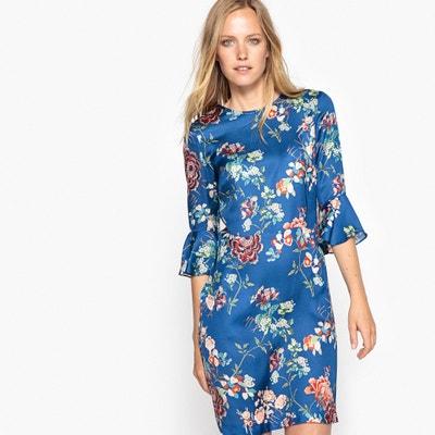 Floral Print Dress with Peplum Sleeves MADEMOISELLE R